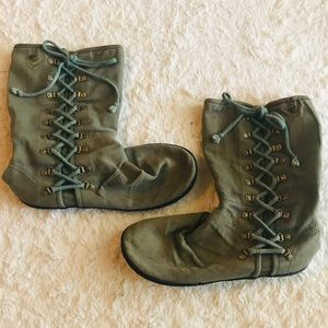 Roxy Army Green Fabric Lace Up Newark Boots 8.5